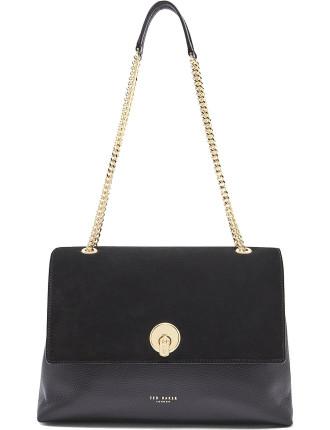 Suede Circle Lock Shoulder Bag