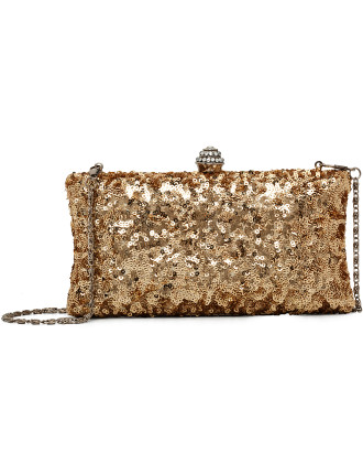 Tiny Sequin Hard Frame Clutch