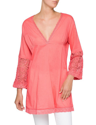V Neck Kaftan With Lace Sleve