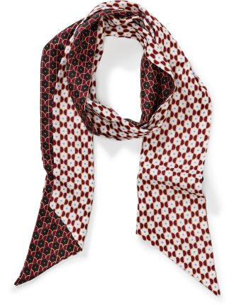 Two On Tie Print Skinny Scarf