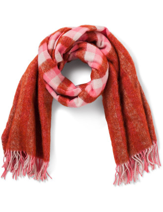 Women Scarf Fluffy Gingham