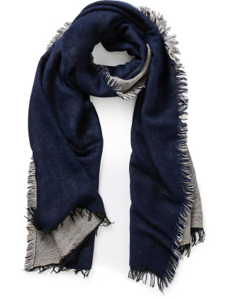 DOUBLE FACING WOVEN FRINGED SCARF