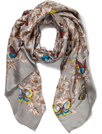 BUTTERFLY LEAF FLORAL SCARF