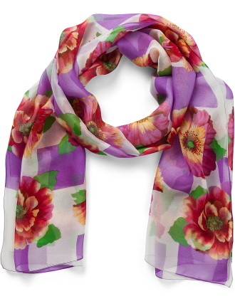 Poppies Silk Chiffon Scarf