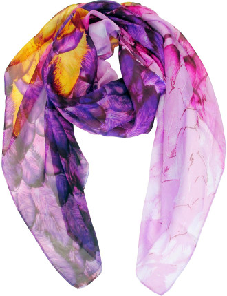 Silk Chiffon Feather Printed Scarf