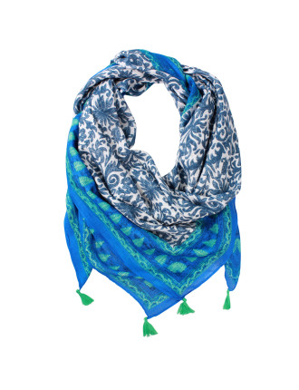 Printed Border Square Scarf With Corner Tassels