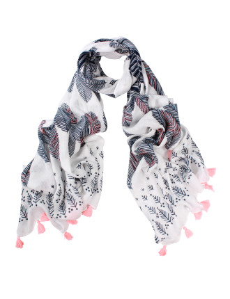 Leaf Print Viscose Scarf With Embroidery + 2 Side Tassels