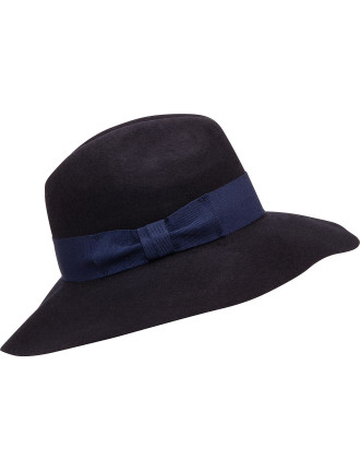 Wool Felt Fedora With Wide Gg Band