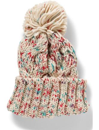 Knit Beanie W Pom Pom