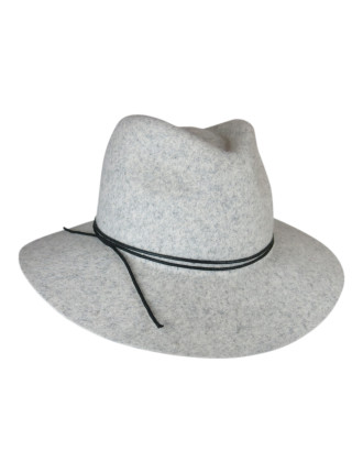 Felt Fedora With Double Lace Trim
