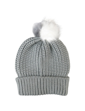 Knit Beanie W/Two Tone Fur Ball