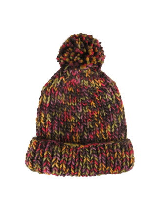 Multi Colour  Knit Beanie W/Self Pom Pom