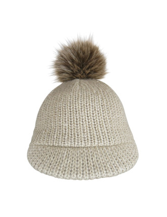 Knit Cap With Faux Fur Pom Pom