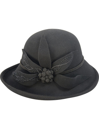 Large Felt Hat With Felt Flower