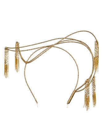 Asymmetric gold chain tassels