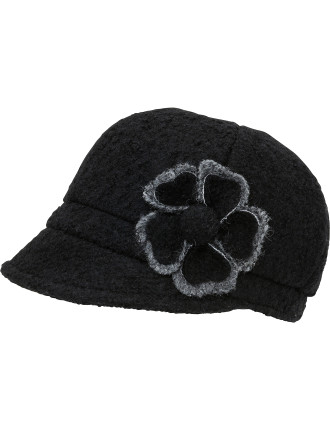 Tweed Hat With Two Tone Flower