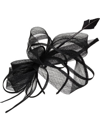 Sinamay Oversized Bow With Feather
