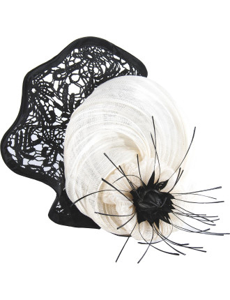 Large Fascinator With Black Lace And Feather Flower