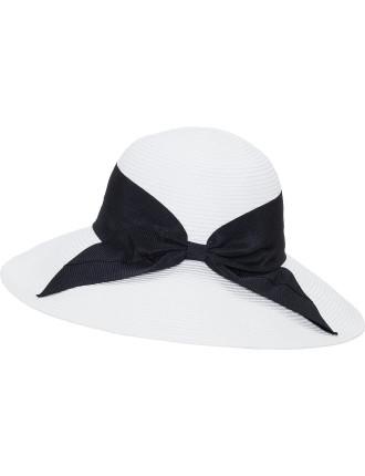 Flat Brim Ribbon Trim Hat