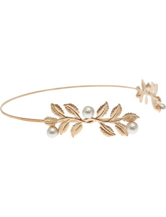 Grecian Leaf Headband With Pearl