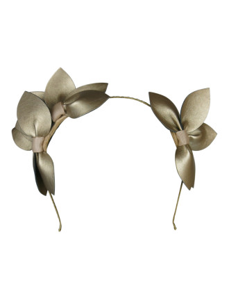 Faux Leather Flowers On Headband