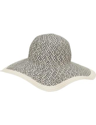Check Contrast Edge Wide Brim Hat