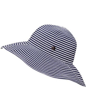 Stripe Ribbon Floppy Hat