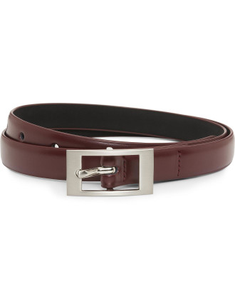 18mm Club Leather Belt With Brushed Nickel Buckle