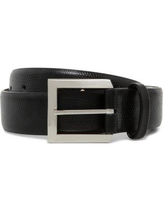Iguana Print Leather Belt With Brushed Nickel