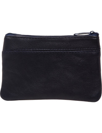 NAVY COIN LEATHER PURSE