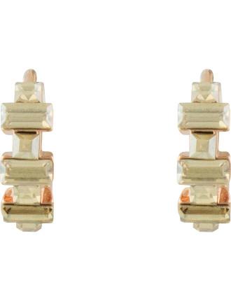 Alternating Rectangle Crystal Hoop Earrings