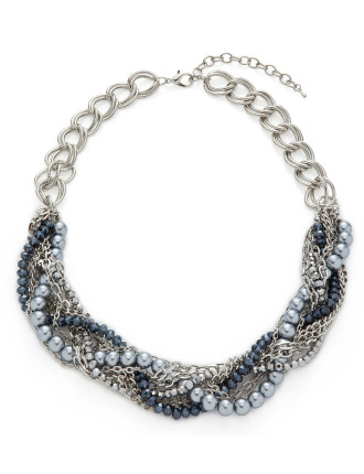 Pearl and Chain Twist Necklace