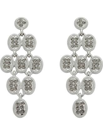 Multi Stone Set Oval Drop Pierced Earrings