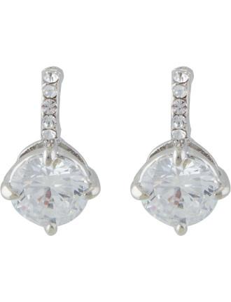 Cubic Zirconia Stoneset Drop Stud Pierced Earrings