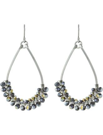 Wire Wrapped Bead Pear Fish Hook Earrings