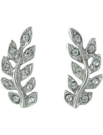 Stoneset Leaf Pierced Earrings