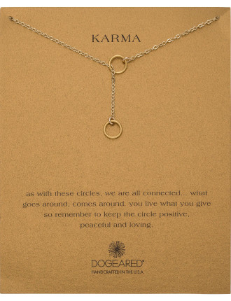 Gold Plated Karma Double Circle Lariat Necklace