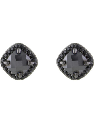 Square Cut Pave Crystal Pierced Earrings
