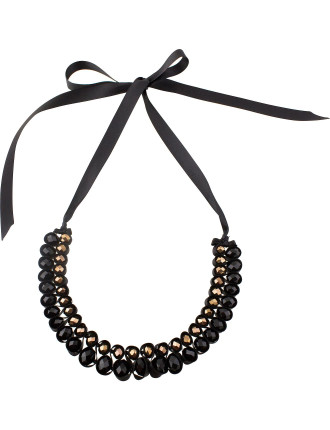 Weaved Ribbon Beaded Collar Necklace