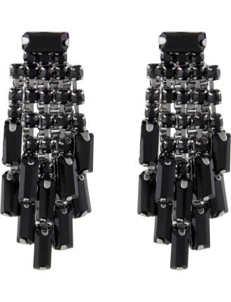 Baguette Cluster Drop Pierced Earrrings