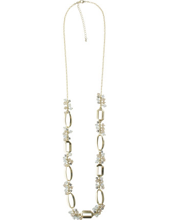 Geometric Ring Bead Cluster Necklace
