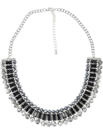 Faceted Baguette Beaded Collar Necklace