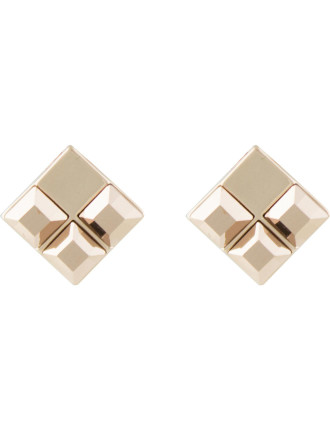 Angled Stone Stud Pierced Earrings
