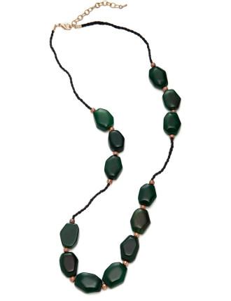 Semi Precious Nugget Rope Necklace