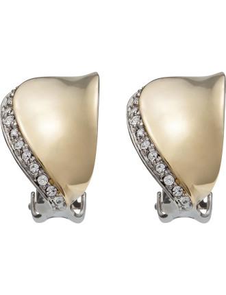 Warped Crystal Clip Earring