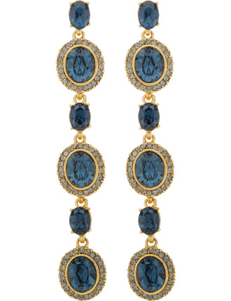 Pave Oval Crystal Long Drop P Earring