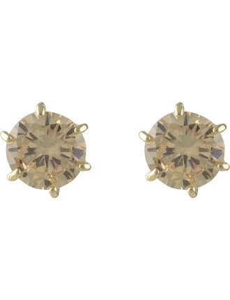 Round Zirconia Pierced Earrings