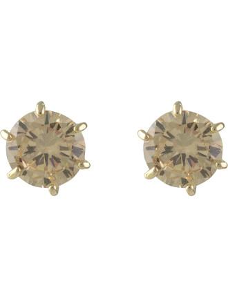 Round Zirconia Pierced Earrings