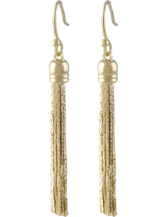 Sleek Chain Tassel Fish Hook Earrings