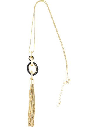 Beaded Rhondelle Tassel Necklace